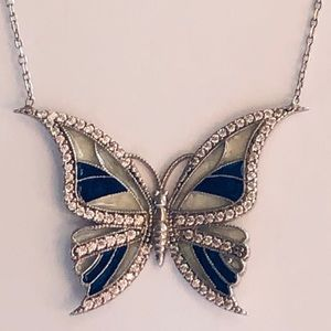 Jewelry - Solid 925 silver blue white butterfly cz necklace